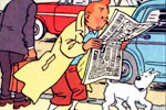 Tintin reading the news