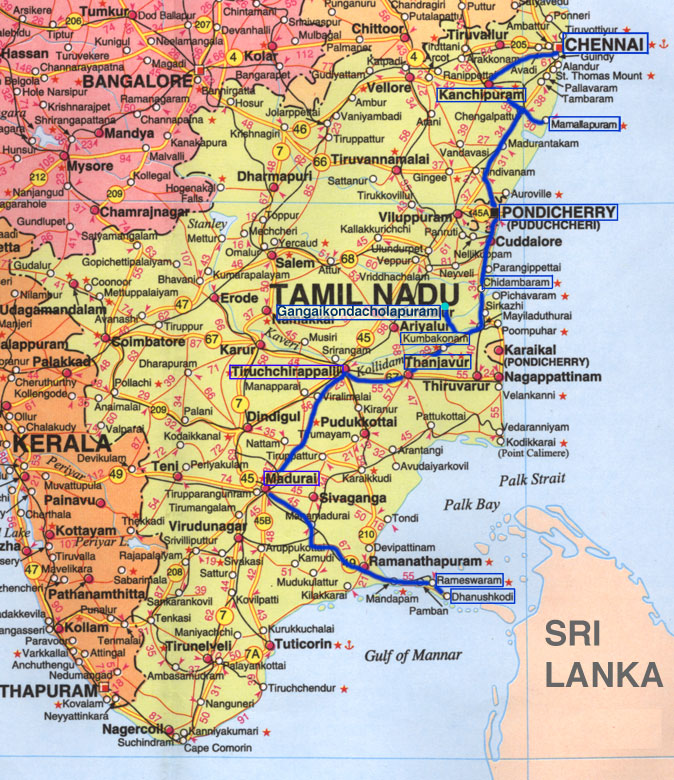 Maps of India and Tamil Nadu