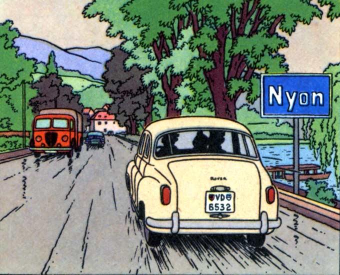 Rover type 75 (~1954)<BR>Le camion rouge est sans doute un Peugeot